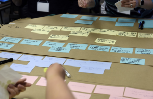 A tightly croppeed photo of participants working on a journey map.